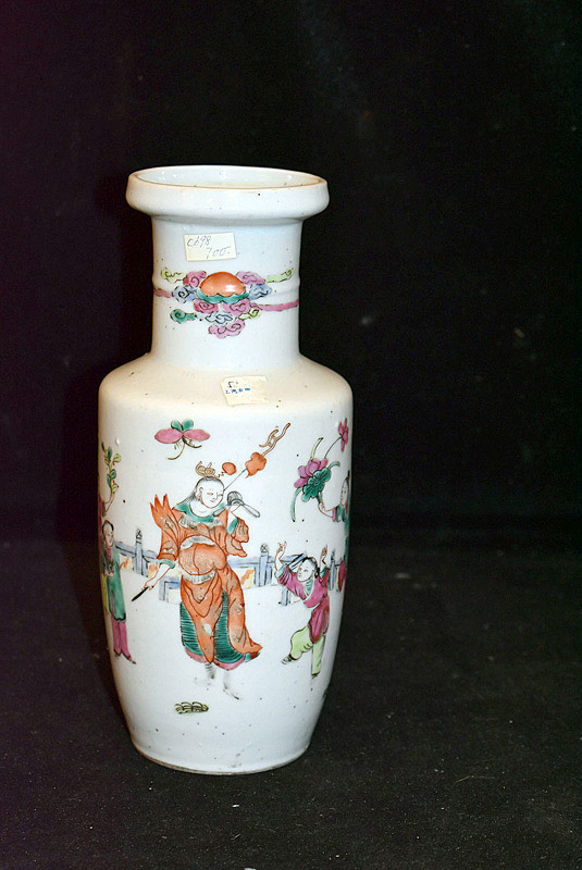 392. Chinese Famille Rose Porcelain Vase w/Figural Decoration. | $276.75