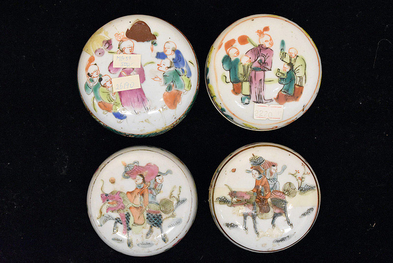 394. Four Chinese Famille Rose Covered Seal Paste Boxes. | $123