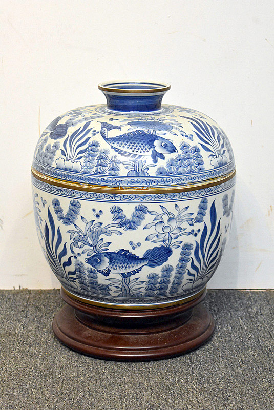 397. Japanese Blue & White Porcelain Lidded Bowl. | $123