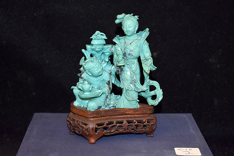 398. Chinese Carved Turquoise Figural Group. | $1,534