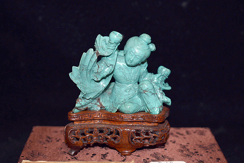 399. Chinese Carved Turquoise Figure: Woman w/Wine Cups. | $472