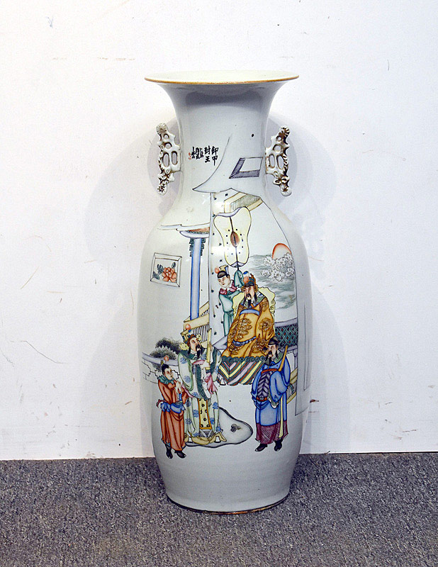 418. Large Chinese Porcelain Vase w/Applied Reticulated Handles. | $799.50