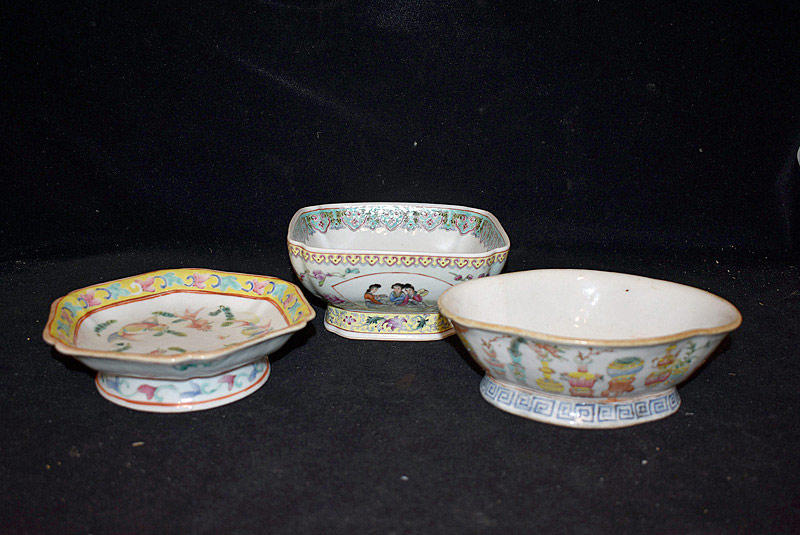 422. Three Chinese Porcelain Footed Bowls. | $70.80