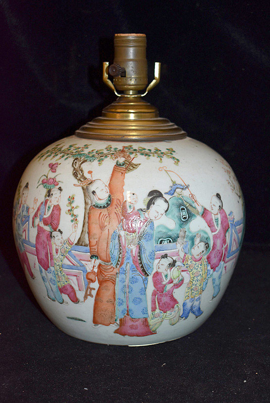 426. Chinese Famille Rose Porcelain Ginger Jar Lamp. | $184.50
