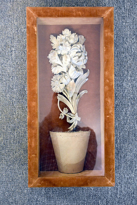 429. English Carved Floral Still Life In Shadowbox Frame. | $73.80