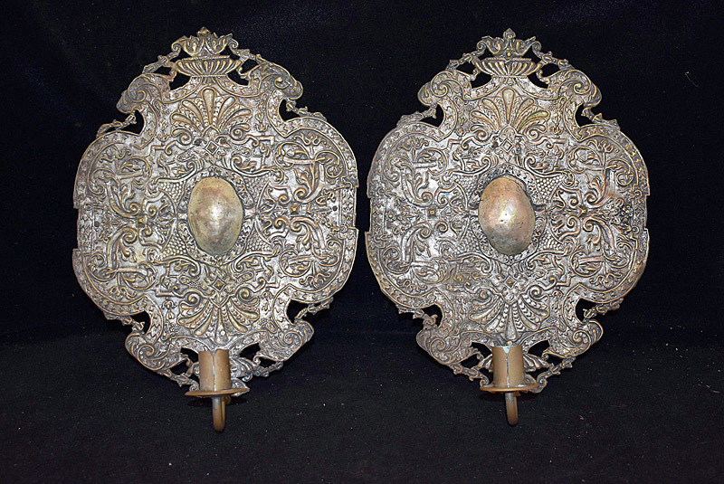 431. Pair of Continental Tin & Brass Wall Sconces. | $184.50