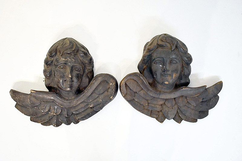 436. Pair of Continental Carved Cherub Wall Plaques. | $86.10