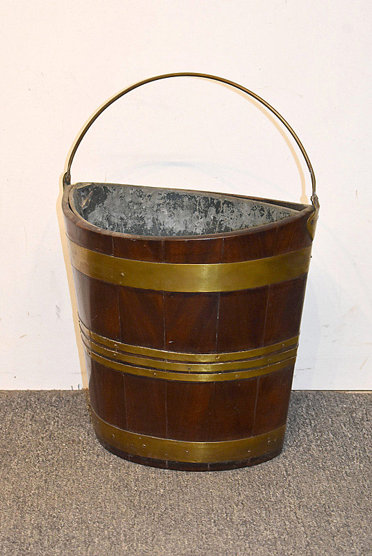 440. 19th C. English Brass Bound Peat Bucket. | $676.50