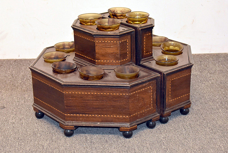 442. Regency Banded Two-tiered Tantalus/Glasses Case. | $615