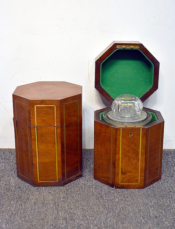 443. Pair of 19th C. Brass Inlaid Humidor Cases. | $177