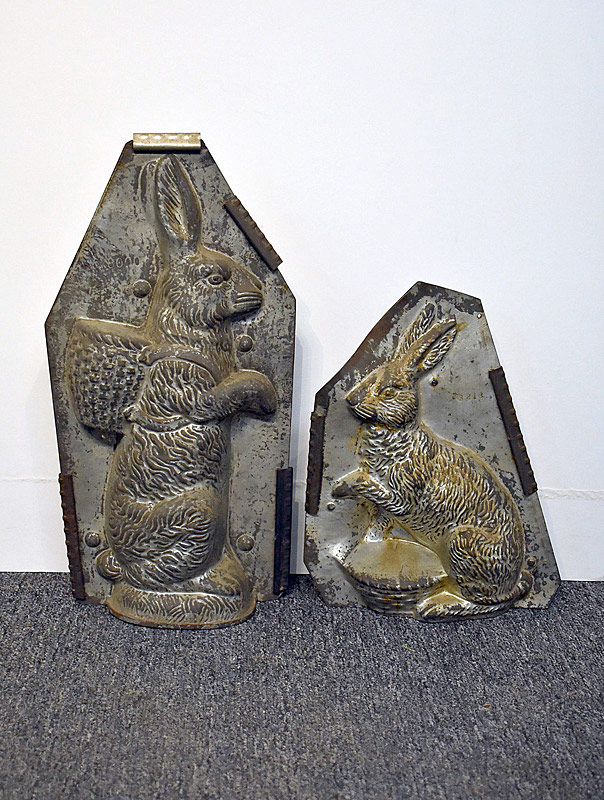 465. Two Large Tin Easter Rabbit Candy Molds. | $147.50