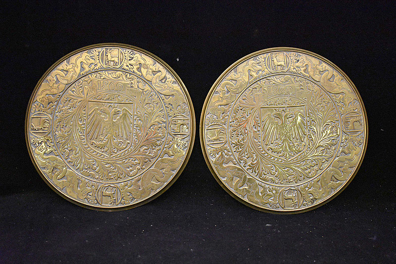 475. Pair of Continental Brass Plaques, dated 1860. | $59