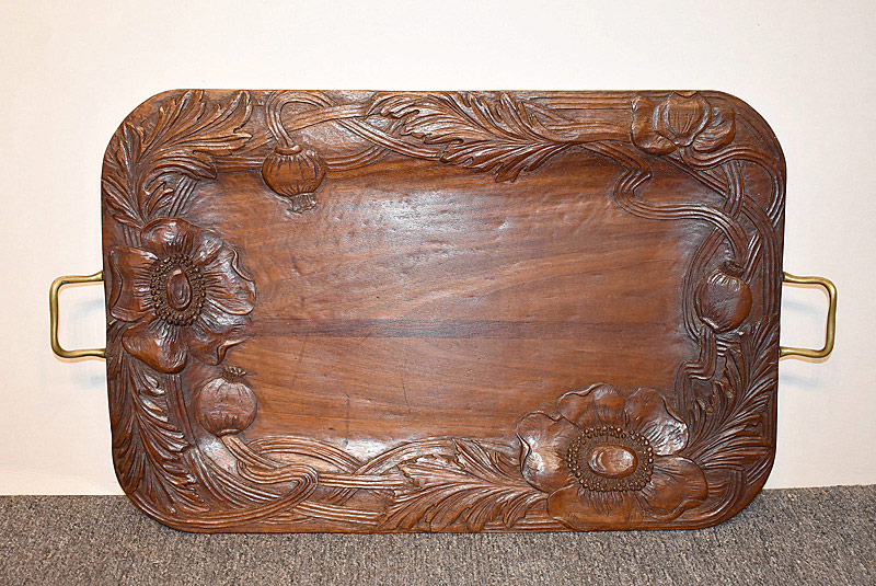 480. Art Nouveau Poppy Carved Serving Tray. | $324.50