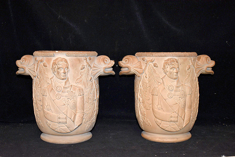 485. Pr. Rare 19th C. Davenport Lord Nelson Terracotta Wine Coolers. | $1,298
