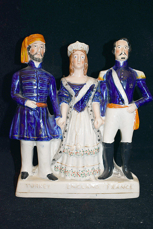 492. Staffordshire Figural Group: Leaders of England, France, Turkey. | $86.10