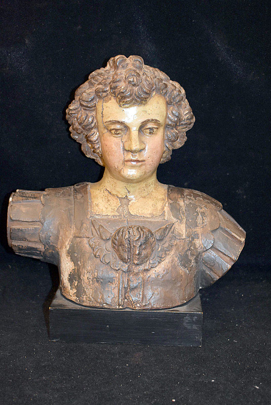 496. Continental Carved and Painted Figural Bust. | $324.50