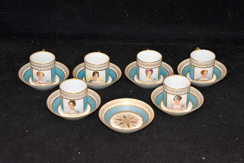 505. 6-pc. Sevres Porcelain Demitasse Set. | $307.50