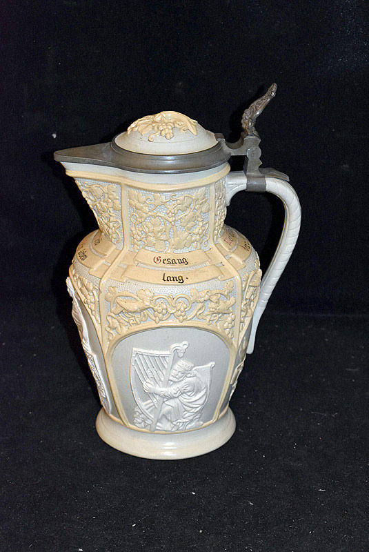 512. 19th C. Mettlach Relief Pitcher, #6. | $118
