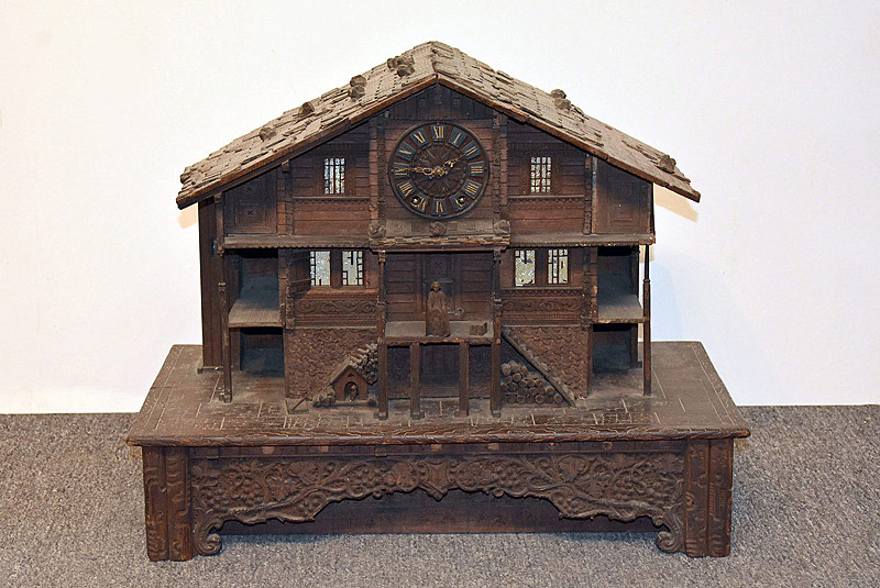 515. Swiss Black Forest Chalet Music Box With Clock. | $615