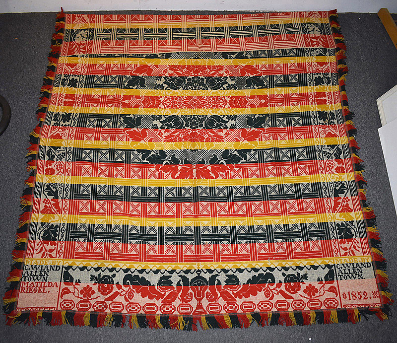 536. Rare Allentown PA Coverlet, signed by C. Wiand, 1852. | $147.50