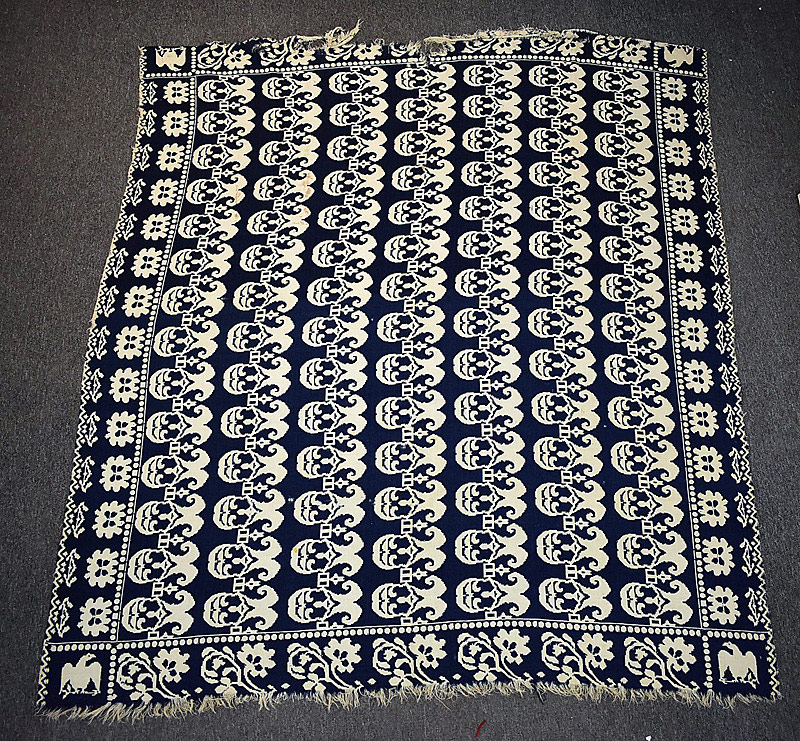 537. 19th C. American Blue & White Coverlet. | $110.70