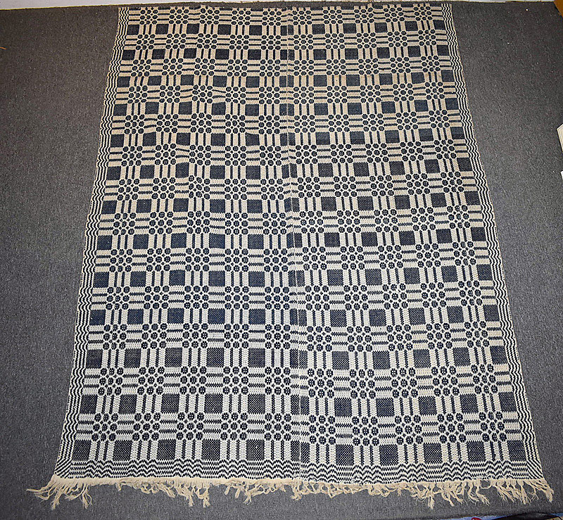 538. 19th C. American Blue & White Coverlet. | $70.80