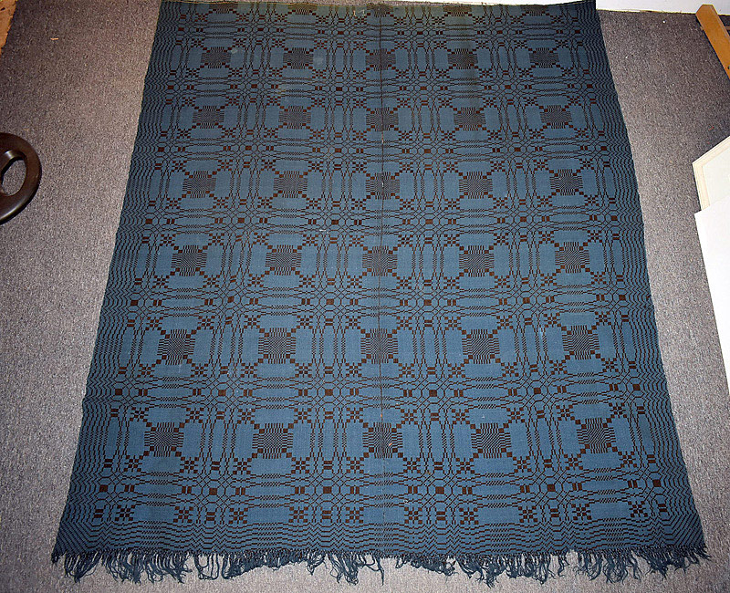 "541. 19th C. American Blue & Brown Coverlet, initialed ""M\"". 