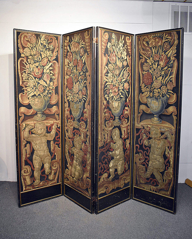 556. 19th C. Flemish Tapestry Four-Panel Room Divider. | $1,045.50