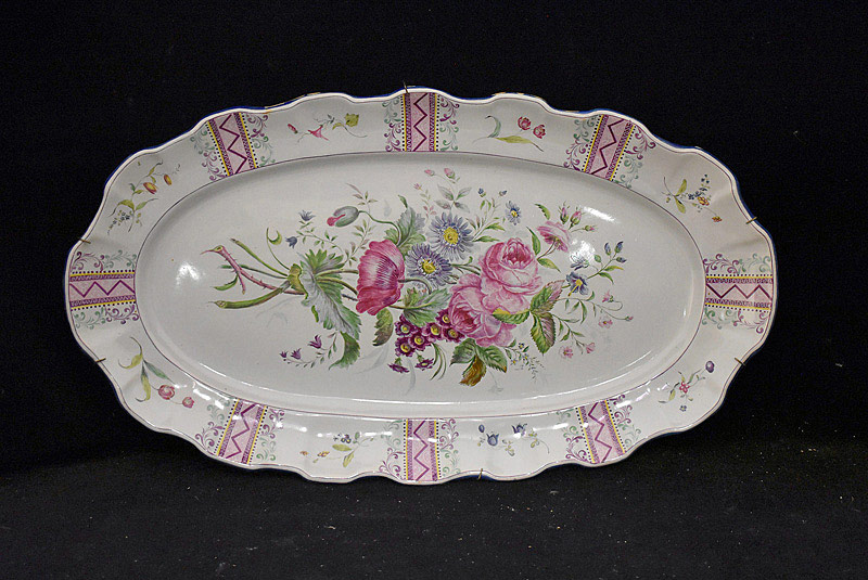 573. 19th C. Soft Paste Floral Porcelain Platter. | $123