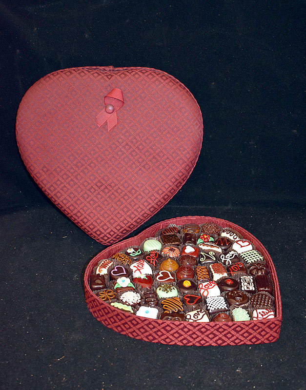 580. Hulet Heart-shaped Box of Glass Chocolates. | $184.50