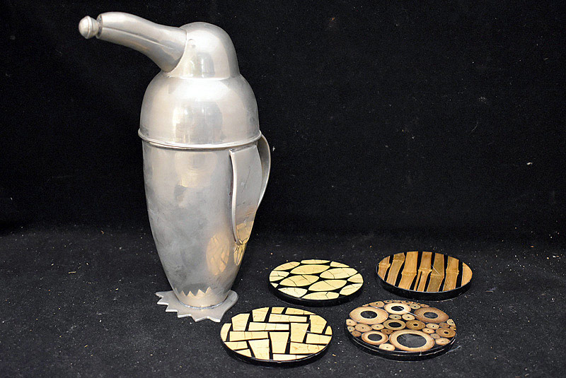 594. Penguin Cocktail Shaker and Augousti Coasters. | $123
