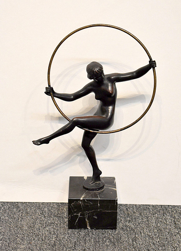 598. Marcel Andre Bouraine Bronze. Hoop Dancer. | $246