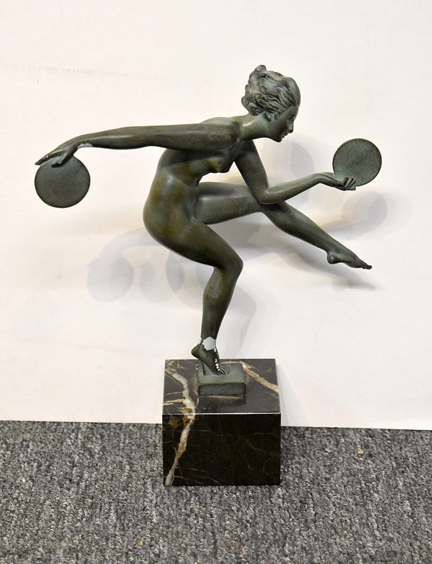 600. Max LeVerrier Art Deco Sculpture. Disc Thrower. | $246