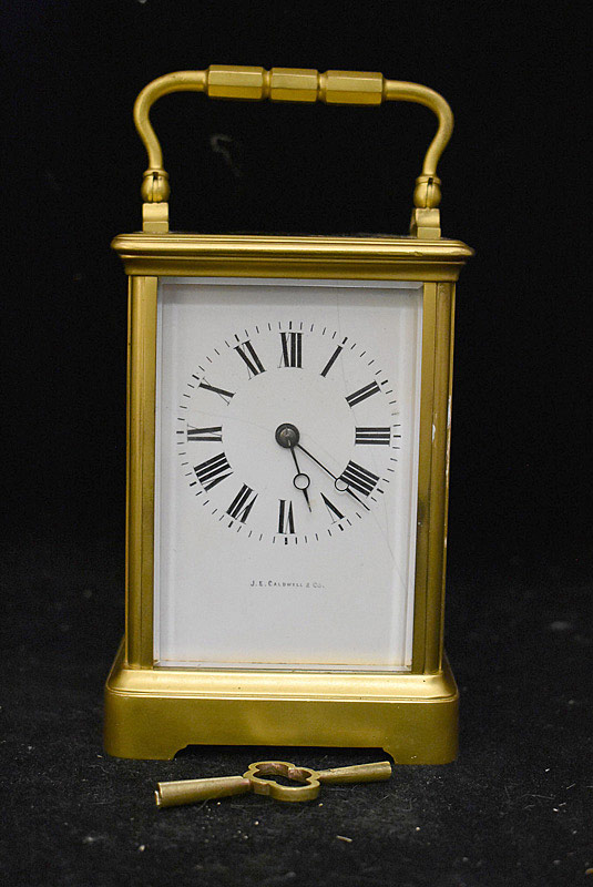 615. JE Caldwell Brass Carriage Clock. | $177