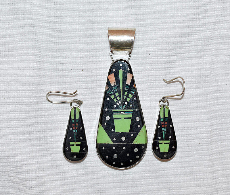 624. Native American Mosaic Inlaid Earing and Pendant. | $295