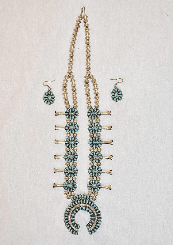 625. Reversible Turquoise & Coral Squash Blossom Necklace & Earrings. | $492