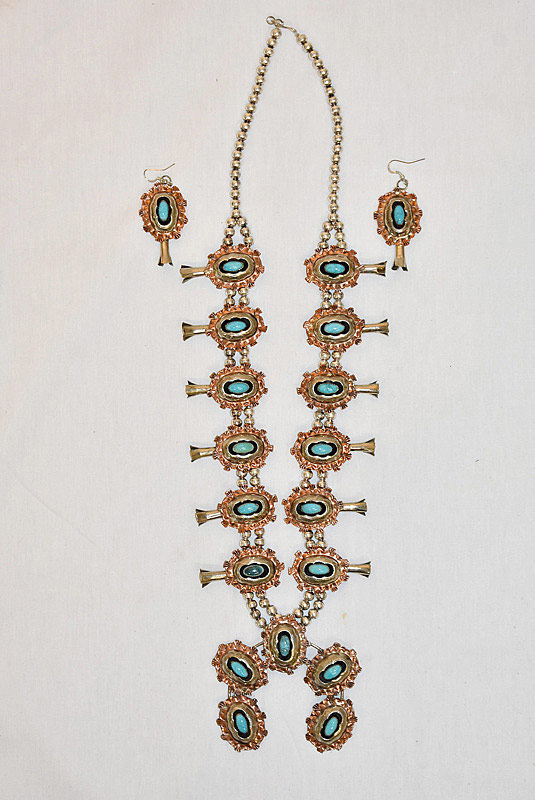 626. Silver & Copper Squash Blossom Necklace & Earrings. | $206.50