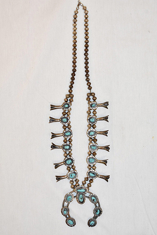 627. Navajo Silver & Turquoise Squash Blossom Necklace. | $324.50