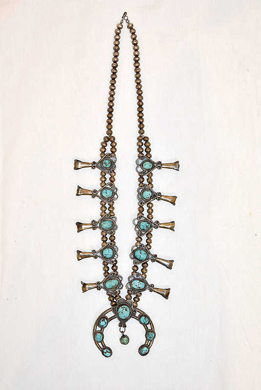 631. Navajo Silver & Turquoise Squash Blossom Necklace. | $324.50