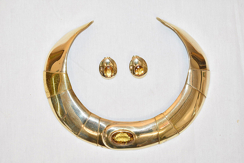 632. Donald Pywell Designer Gold Plated Collar & Earrings. | $153.75