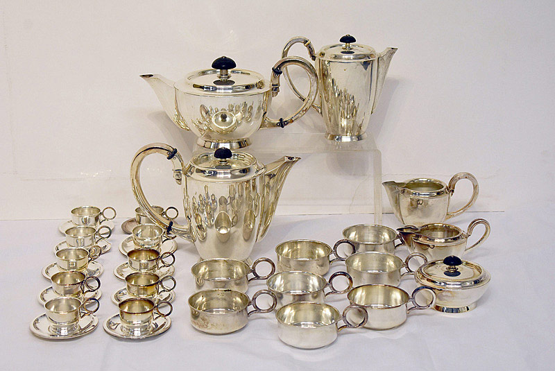 646. 36-pcs. Lazarus Posen Silver Coffee/Tea Service. | $1,599