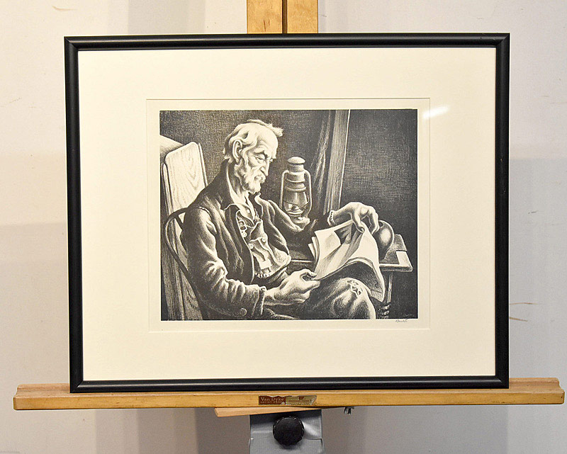 651. Thomas Hart Benton Lithograph. Old Man Reading. | $885