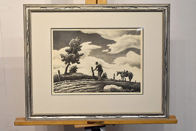 652. Thomas Hart Benton Lithograph. The Fence Mender. | $1,416