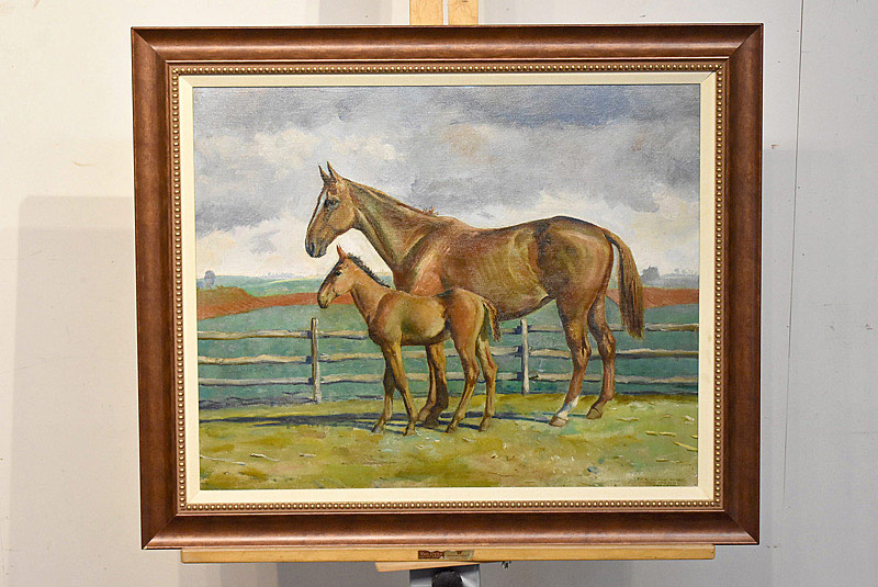 656. Peter Hurd Oil on Canvas. Horses in Field. | $1,845