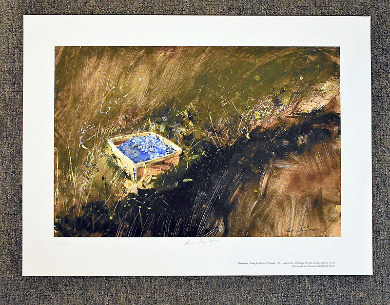 660. Signed & Numbered Andrew Wyeth Print, Blueberries. | $430.50