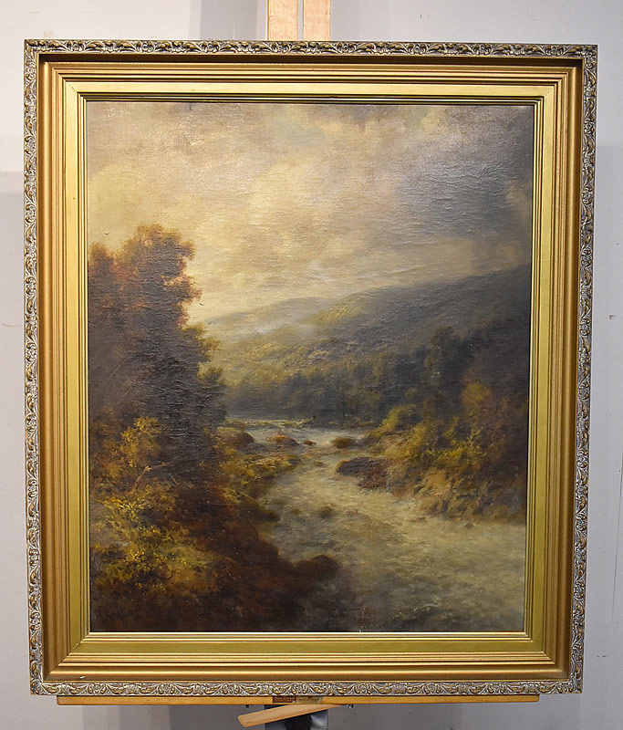 662. Thomas Bailey Griffin Oil on Panel. Delaware River. | $615