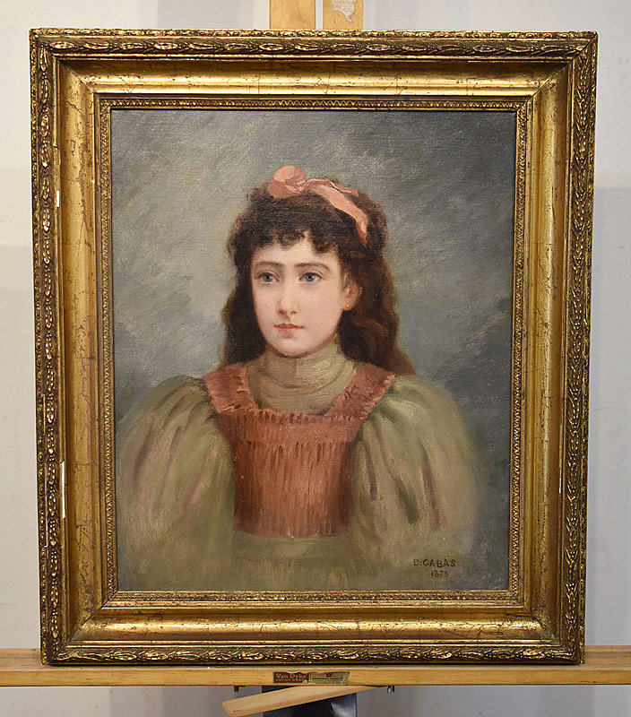 664. D. Cabas Oil on Canvas Portrait of a Girl, 1875. | $61.50
