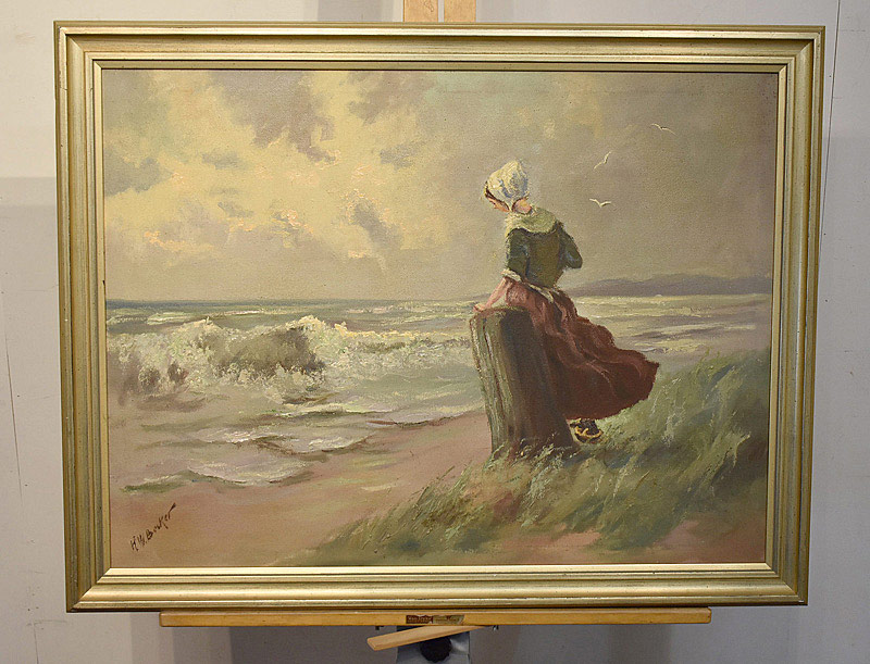 665. Hans Joseph Wilhelm Becker Oil on Canvas. Woman on the Beach. | $86.10