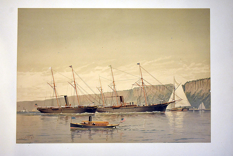 667. After Frederic Cozzens. Two Chromolithographs of American Yachts, 1884. | $70.80