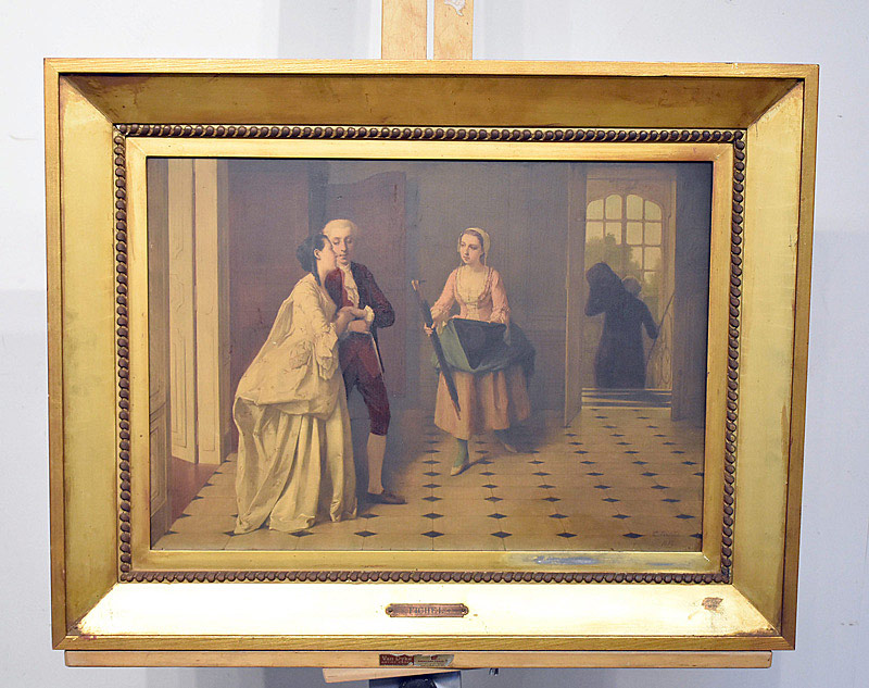 672. Eugene Fichel Oil on Panel. Interior Genre Scene. | $676.50